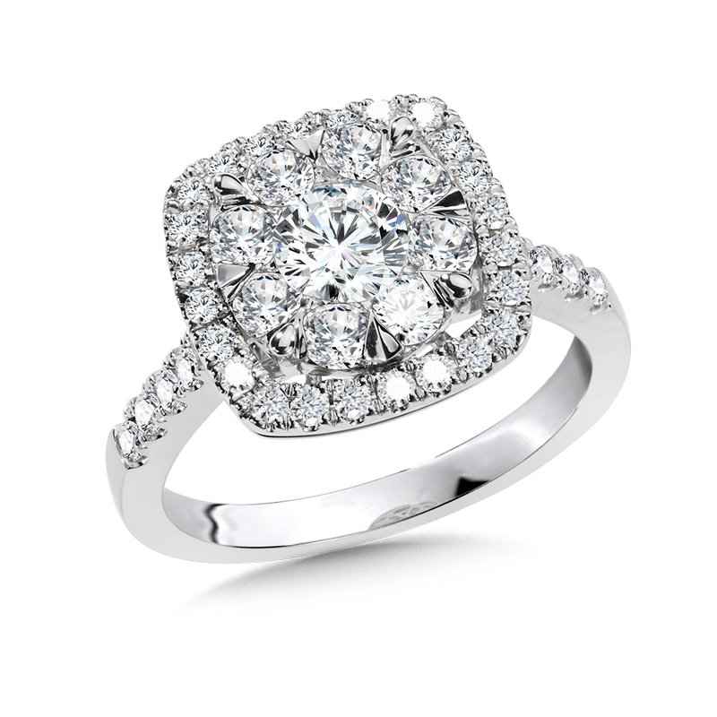 SDC Creations Cushion-Shaped Cluster Diamond Mirage Engagement Ring