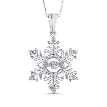 Sterling Silver 1/5 ct White Diamond Snowflake Pendant with Chain