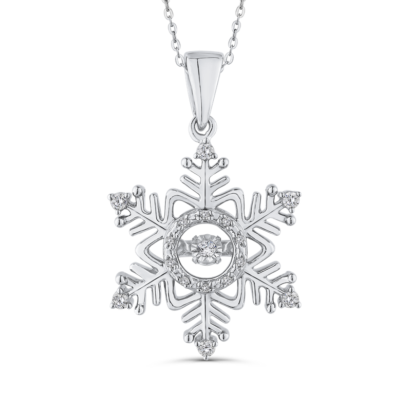 Essentials Sterling Silver 1/5 ct White Diamond Snowflake Pendant with Chain