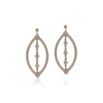 Carnation Cable Lace Marquise Earrings with 18kt Rose Gold & Diamonds