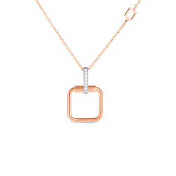 #27989 Of 18K Small Square Pendant W. Dia Accent On Chain