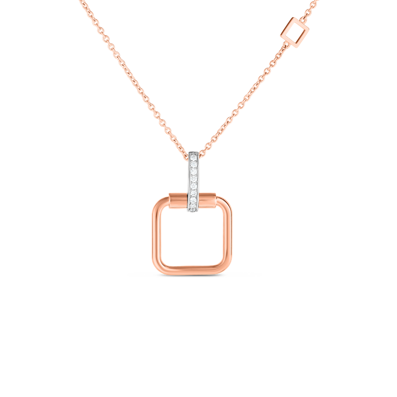 Roberto Coin  #27989 Of 18K Small Square Pendant W. Dia Accent On Chain