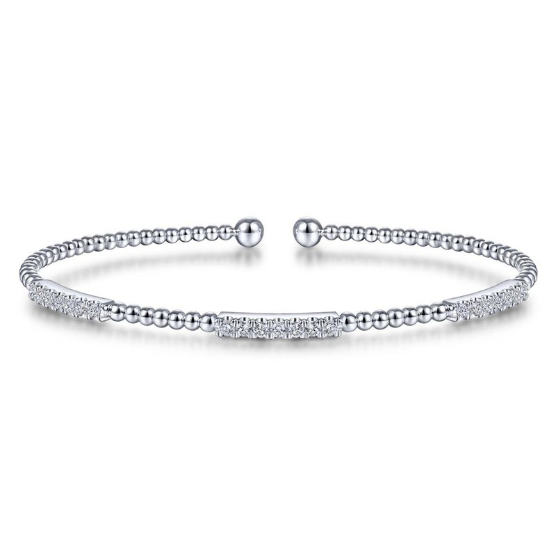 Gabriel Fashion 14K White Gold Bujukan Bead Cuff Bracelet with Diamond Pavé Stations