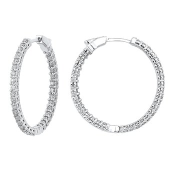 In-Out Prong Set Diamond Hoop Earrings in 14K White Gold (5 ct. tw.) I2/I3 - H/K