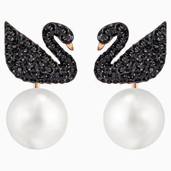 Swarovski Iconic Swan Pierced Earring Jackets, Black, Rose-gold tone plated