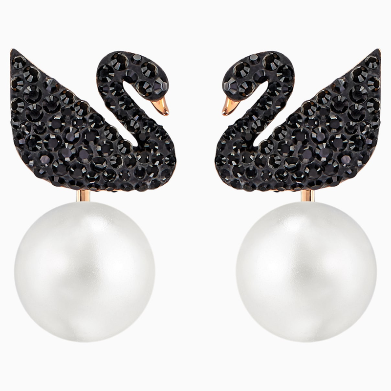 Swarovski Swarovski Iconic Swan Pierced Earring Jackets, Black, Rose-gold tone plated
