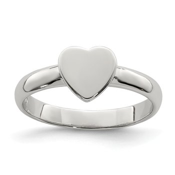 Sterling Silver Rhodium-plated Heart Ring