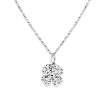 Diamond Small Clover Necklace in 14k White Gold with 16 Diamonds weighing .14ct tw.