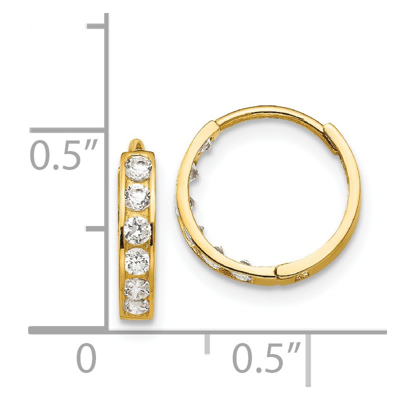 J.F. Kruse Signature Collection 14k Madi K CZ Children's Hinged Hoop Earrings
