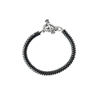 6.5 Mm Hematite Button Bead With Toggle Clasp