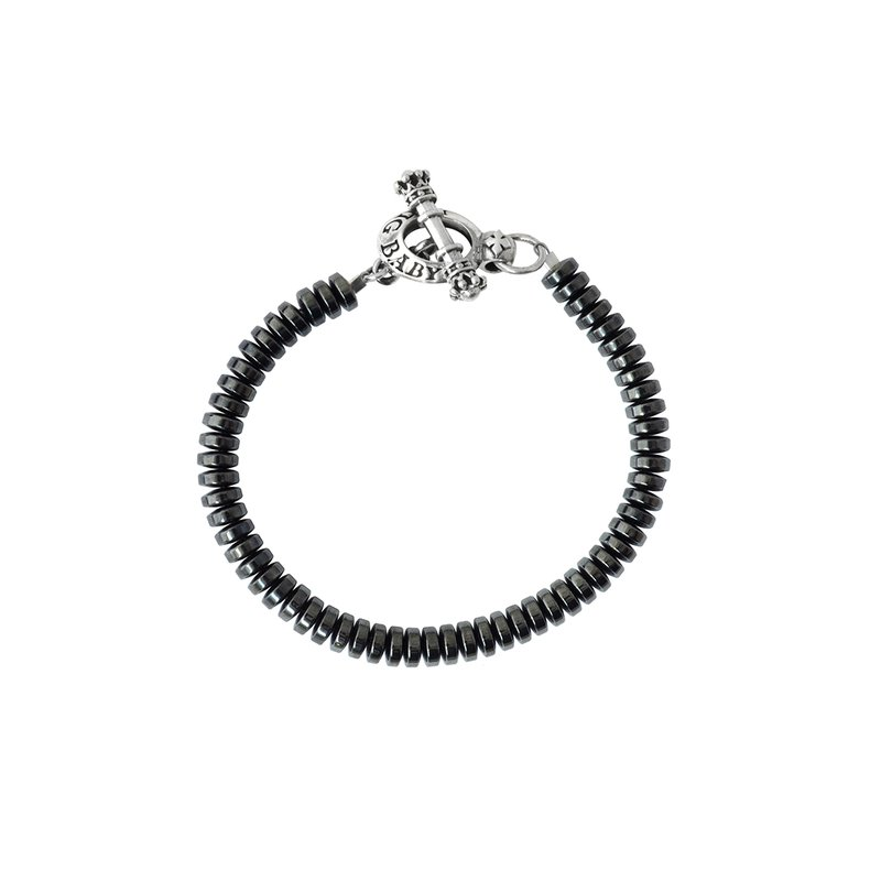 King Baby 6.5 Mm Hematite Button Bead With Toggle Clasp