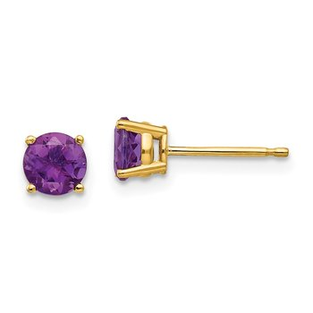 14k 5mm Amethyst Post Earrings