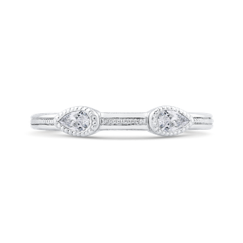 18K White Gold Pear Diamond Wedding Band