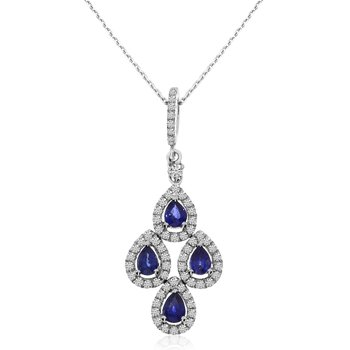 14k White Gold Teardrop Sapphire and Diamond Pendant