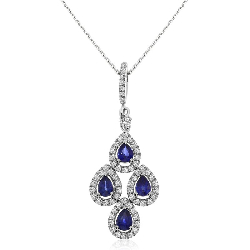 Color Merchants 14k White Gold Teardrop Sapphire and Diamond Pendant