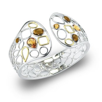 Sterling Silver and 14K Yellow Gold with Semi-Precious Stones Cuff