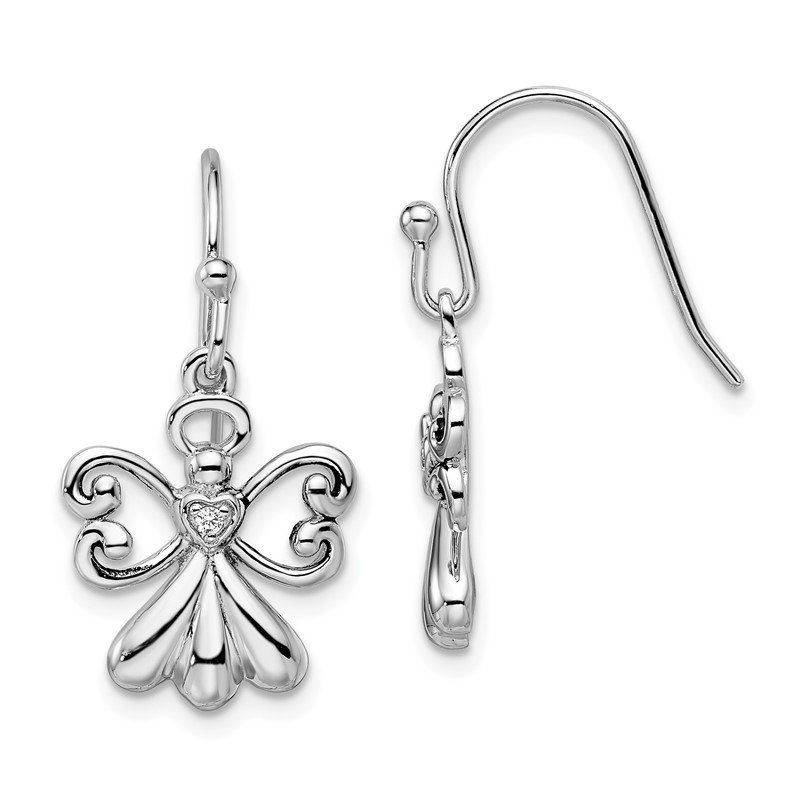 Quality Gold Sterling Silver CZ Angels On Assignment Earrings
