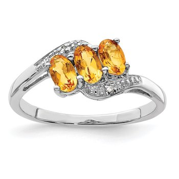 Sterling Silver Rhodium Citrine & Diamond Ring