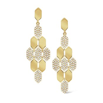 Diamond Honeycomb Earrings Set in 14 Kt. Gold