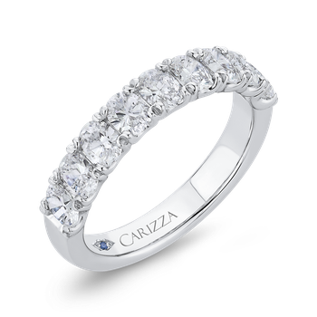 14K White Gold Oval Diamond Half-Eternity Wedding Band