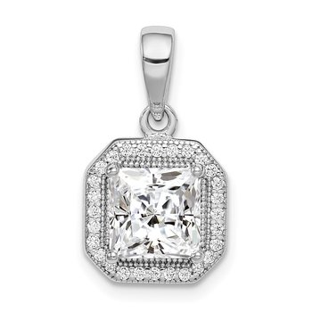 Sterling Silver Rhodium Plated Clear CZ and Square Clear CZ Pendant