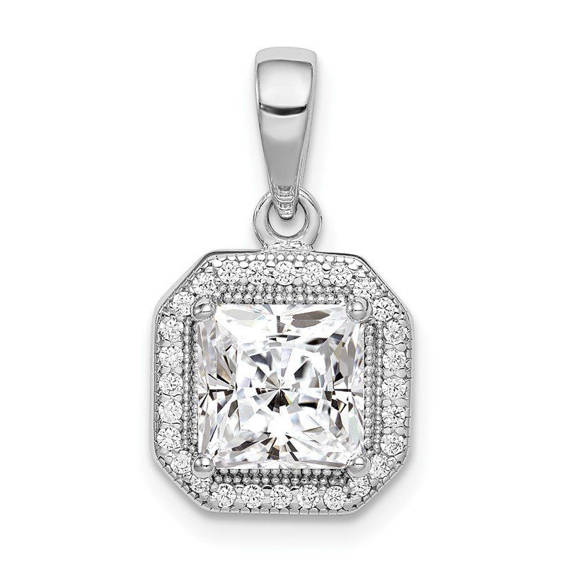 Quality Gold Sterling Silver Rhodium Plated Clear CZ and Square Clear CZ Pendant