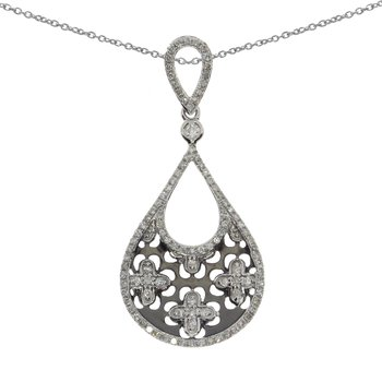 14K White Gold  Brushed Pear Fashion Pendant