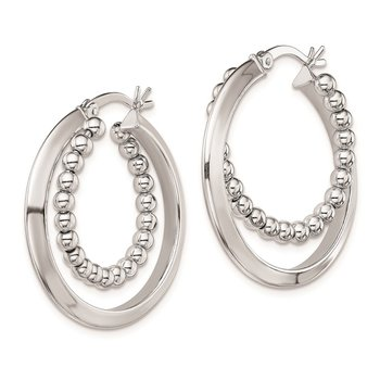 Sterling Silver Rhodium Plated Intertwining Beaded Hoop Earrings