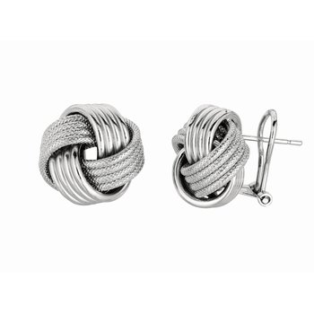 Silver Large Multirow Love Knot Earring