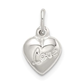 Sterling Silver Polished LOVE Reversible Puff Heart Charm