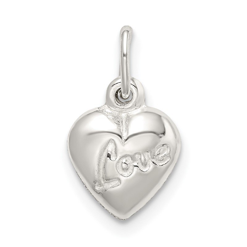 Quality Gold Sterling Silver Polished LOVE Reversible Puff Heart Charm