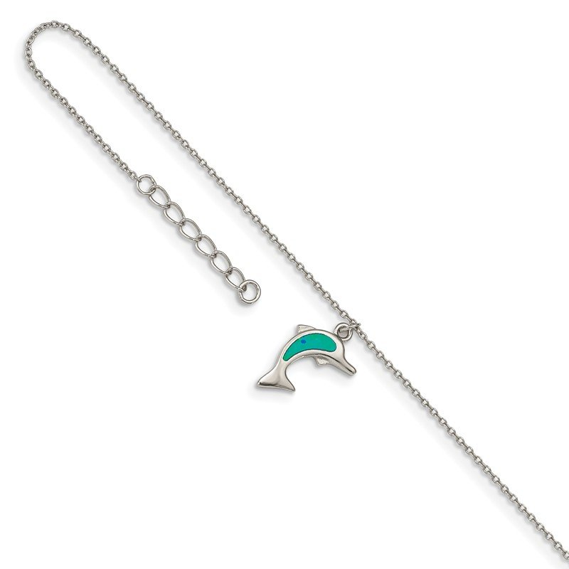 Quality Gold Sterling Silver RH-plated Created Opal Dolphin 9in Plus 1in Ext. Anklet