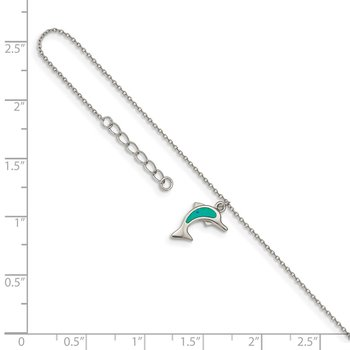 Sterling Silver RH-plated Created Opal Dolphin 9in Plus 1in Ext. Anklet