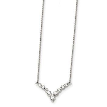 Sterling Silver Fancy-V Bar CZ Necklace