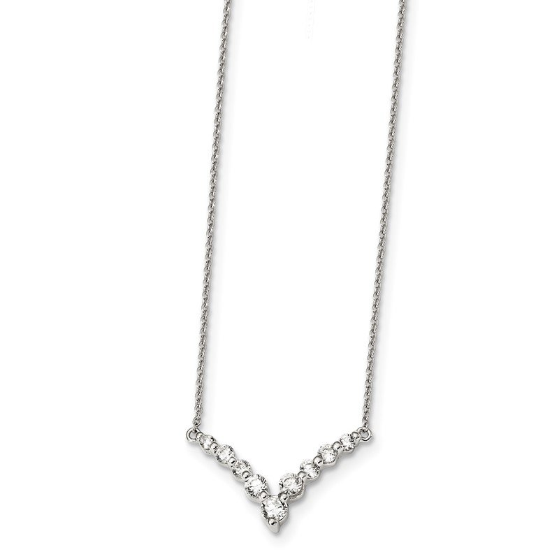 Quality Gold Sterling Silver Fancy-V Bar CZ Necklace
