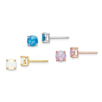 Sterling Silver Rose-tone and Gold-tone Created 6mm Opal Earring Set