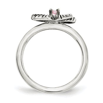Sterling Silver Pink CZ Bow Kid's Ring