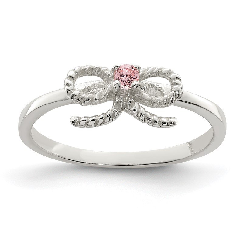 Quality Gold Sterling Silver Pink CZ Bow Kid's Ring