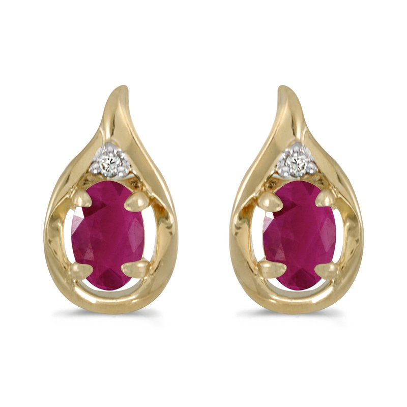 Color Merchants 10k Yellow Gold Oval Ruby And Diamond Earrings