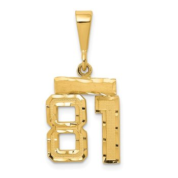 14k Small Diamond-cut Number 81 Charm