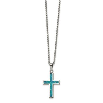Stainless Steel Polished w/Imitation Opal Small Cross 22in Necklace