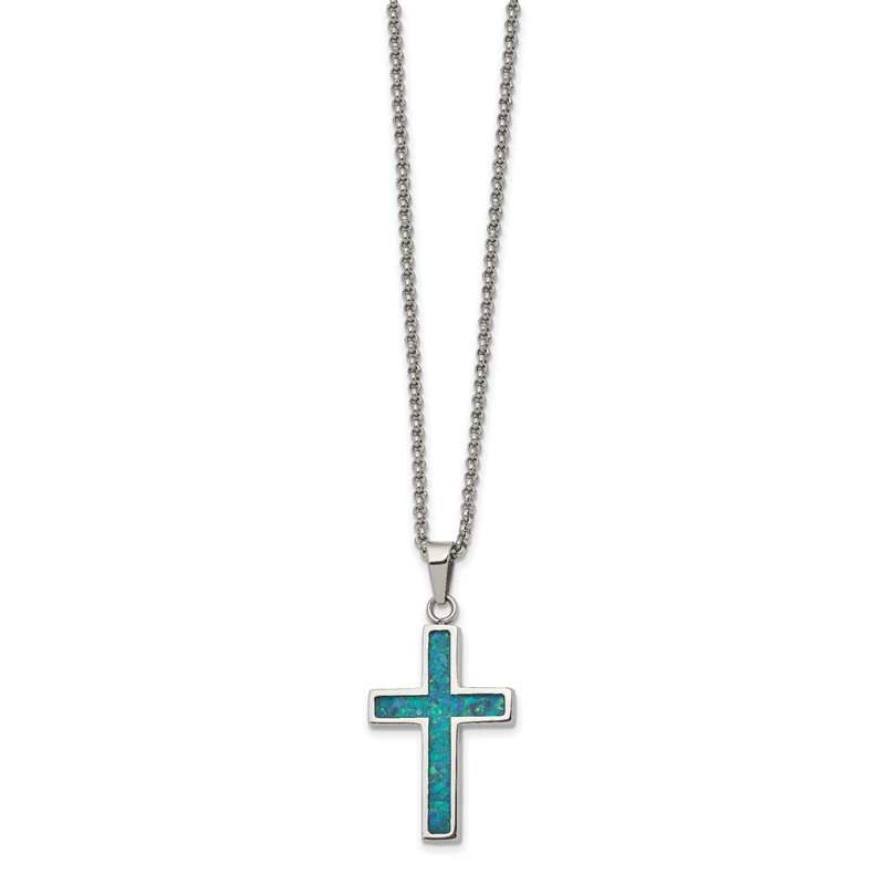 Chisel Stainless Steel Polished w/Imitation Opal Small Cross 22in Necklace