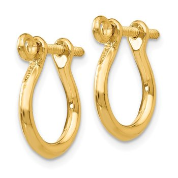14k 3D Shackle Link Screw Earrings