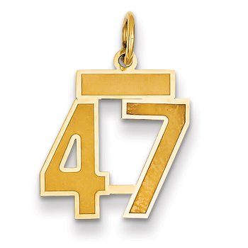 14k Small Satin Number 47 Charm
