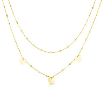 14K Gold Multi-Strand Bead Station & Heart Necklace