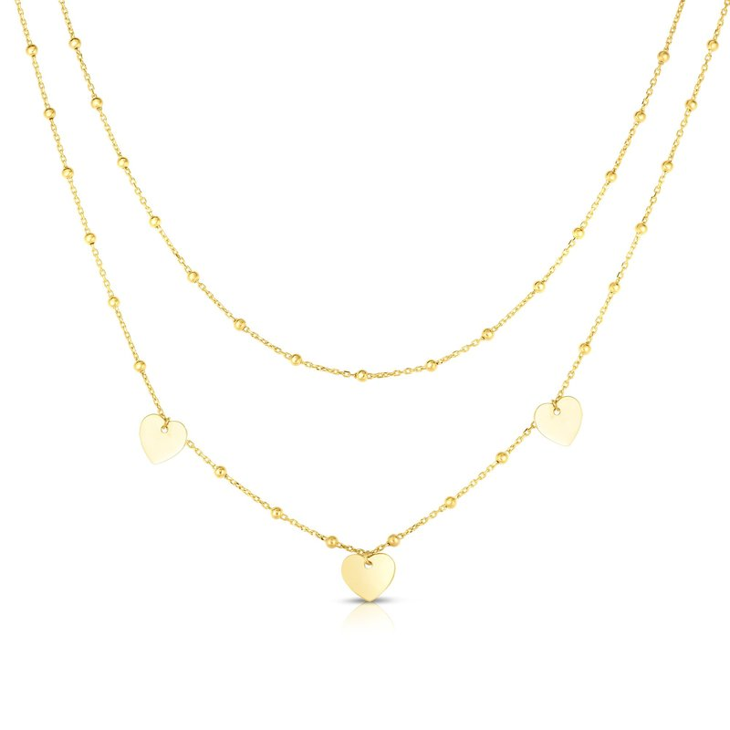 Royal Chain 14K Gold Multi-Strand Bead Station & Heart Necklace