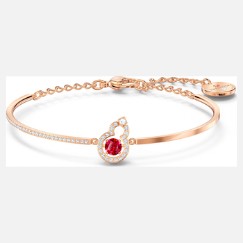 Full Blessing Hulu Bangle, Red, Rose-gold tone plated