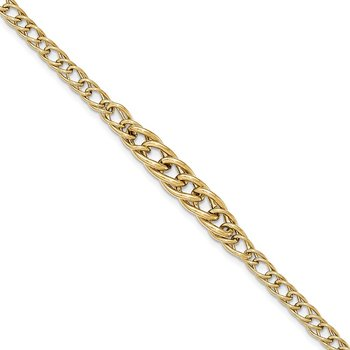14k Gold Polished Fancy Oval Link Bracelet