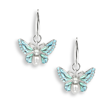 Sterling Silver Wire Earrings-Butterfly-Blue-Diamond-Pearl