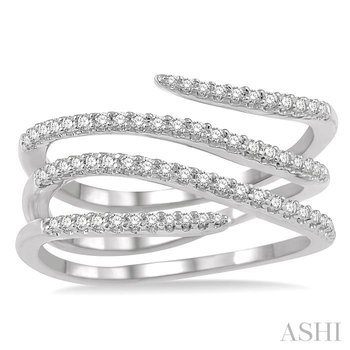 diamond open spiral fashion ring